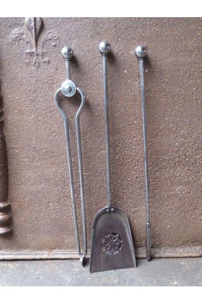 Polierter Stahl Kaminbesteck aus 32