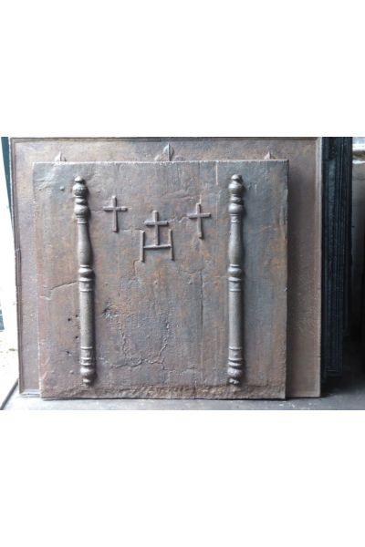 Kaminplatte 'Säulen mit IHS-Monogramm' aus 14